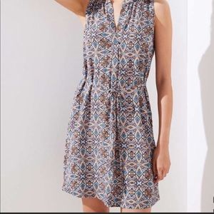 LOFT Medallion Split Neck Tie Waist Dress